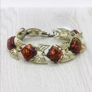 Vintage Coro Confetti Red Thermoset Bracelet.